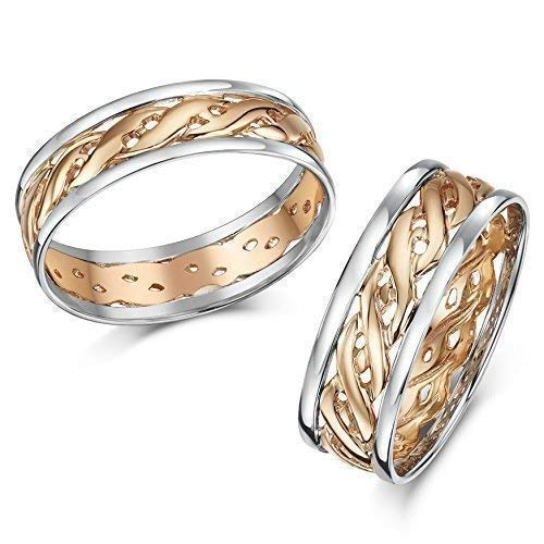 His & Hers 6&7mm Two Colour Rose Gold Celtic Wedding rings