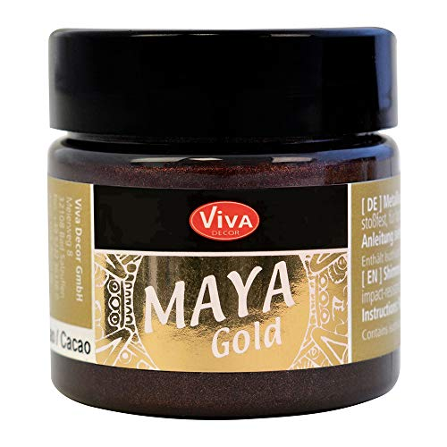Viva Decor®️ Maya Gold (Kakao, 45 ml) Acrylfarbe mit Metallic Effekt - Malfarbe - Acryl Farben für Holz, Pappe, Beton, Papier, Leinwand UVM.