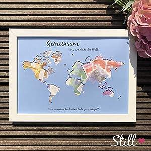 *Weltkarte* Geldgeschenk zur Hochzeit *Gemeinsam.alles Liebe*
