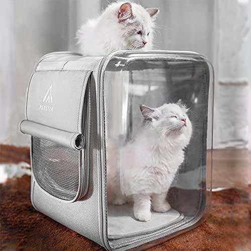 aleawol Haustier Rucksack für Katzen und Hund, großer Transparent Katzen Rucksäcke Faltbare Atmungsaktive Hunderucksack Katzentragerucksack mit internem Sicherheitsgur für Wandern Reisen im Freien
