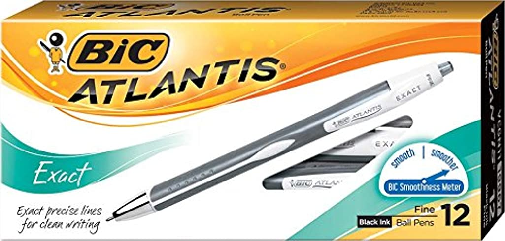 BIC Atlantis Exact Retractable Ball Pen, Fine Point (0.7 mm), Black, 12-Count