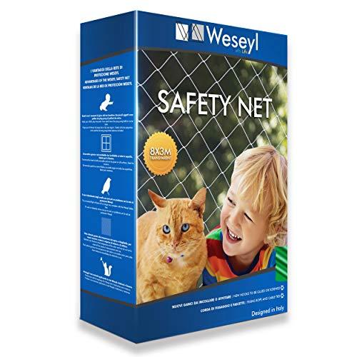 Weseyl Rete Protettiva Ultra Resistente Dimensione 3x8 M per Animali Domestici di Piccola Taglia Come Gatti e Cani Ideale per Finestre Balconi Ringhiera in Nylon Trasparente Dotata di Kit Montaggio