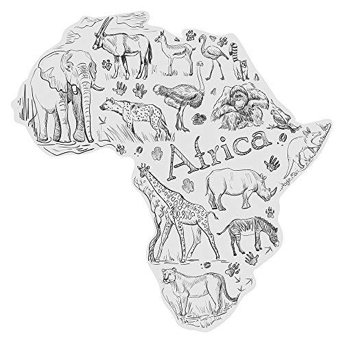 dekodino® Wandtattoo Afrika Landkarte mit Tieren der Savanne Wandsticker Deko