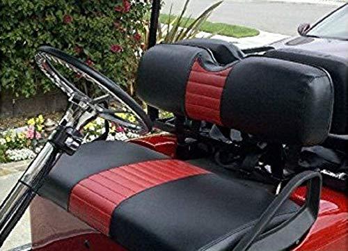 E-Z-Go TXT Custom Golf Cart Front Seat Cover Set PLUS Rear Seat Cover Set Combo - ONE STRIPE STAPLE ON
