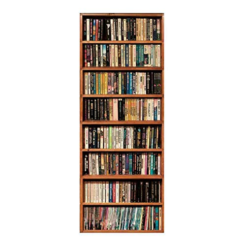 MACHINE BOY Removable Door Sticker Eight-Layer partition solid Wood Bookshelf Wallpaper for Bedroom Living Room Mural Home Decor Size 90 * 200cm