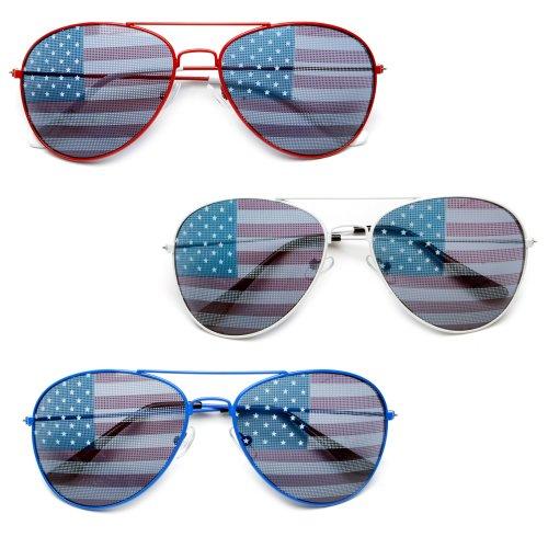 MJ Eyewear American Flag Aviator Sunglasses Glasses Gift Box (3 Pack Color, USA FLAG)