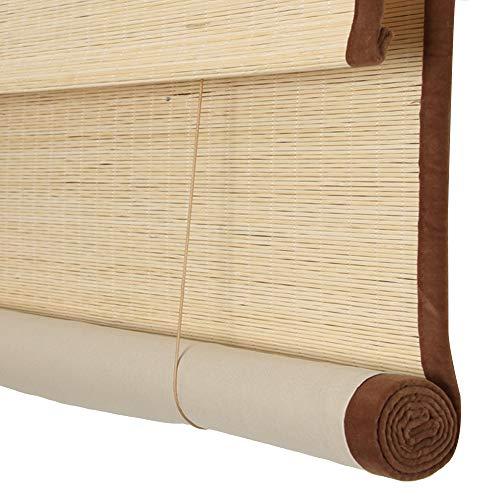 Persiana Estores de bambú Persiana Enrollable Romanas, bordura cortina Sombreado Proteccion solar, Elevación enrollable, Adecuado para oficinas de salón de té. Tamaño personalizable,D,W135xH175cm