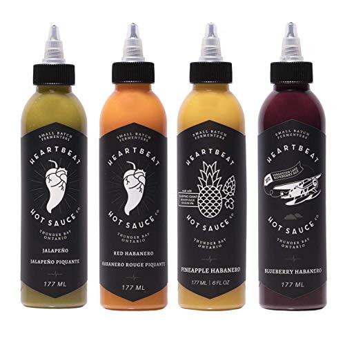 Heartbeat Hot Sauce 4 Pack- 4 Bottles of 6 oz- Small Batch & Handmade, Vegan, Preservative Free-...
