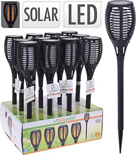 PERAGASHOP Solar Lamp Torch Black with Flame 10X58CM Warm White Outdoor Garden Accessories