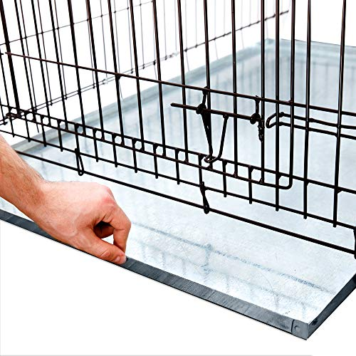 KOPEKS - Heavy Duty Multipurpose Replacement Metal Tray - Galvanized - Rust & Crack Proof - Several for Pet Crates, Grease Trap and Others (24 x 35 Inches, Metal Tray)