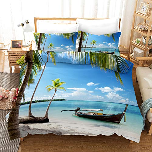 Duvet Cover Bedding Set White blue black brown island sea boat Double 78.74 x 78.74 inch Ultra Soft Easy Care With–Hotel Quality Bedding Sets 2 Pillowcase19.68 x 29.53 inch