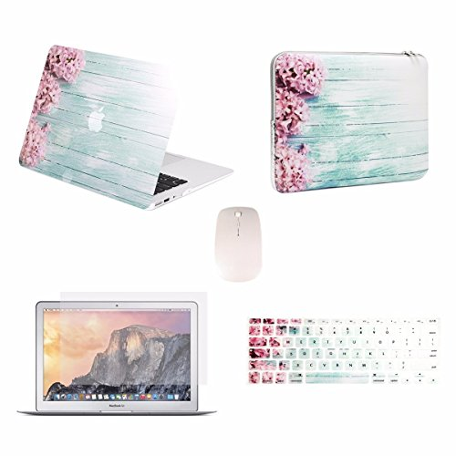 "TOP CASE - 5 in 1 Omni Bundle Graphics Matte Case, Keyboard Cover, Screen Protector, Sleeve, Mouse Compatible MacBook Air 13"" A1369 & A1466 (Older Version, Release 2010-2017) - Pink Hyacinth"