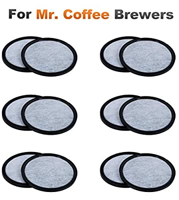 K&J 12-Pack of Mr. Coffee Compatible Water Filter Discs - Universal Fit Mr Coffee Compatible Filters - Replacement Charcoal Water Filter Discs for Mr Coffee Coffee Brewers - Better Than OEM!