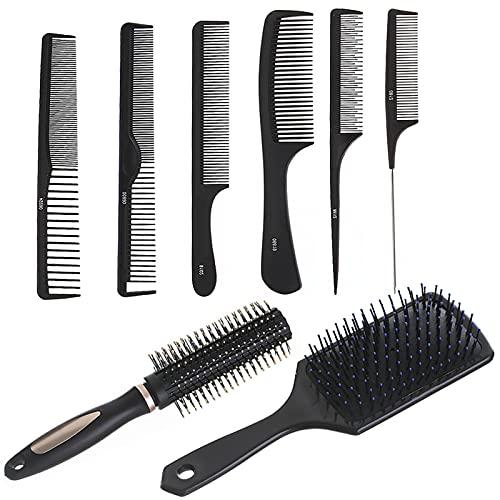 Juego de 8 cepillos para secar el soplado, peine de pelo y cepillo para hombre para cabello rizado grueso, fino, seco, seco, desenredar, alisar, masajear y secar