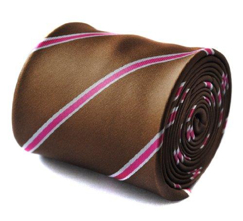 Cravate Frederick Thomas brun, blanc et rose rayé avec édition limitée motif pole dancer à l'arrière