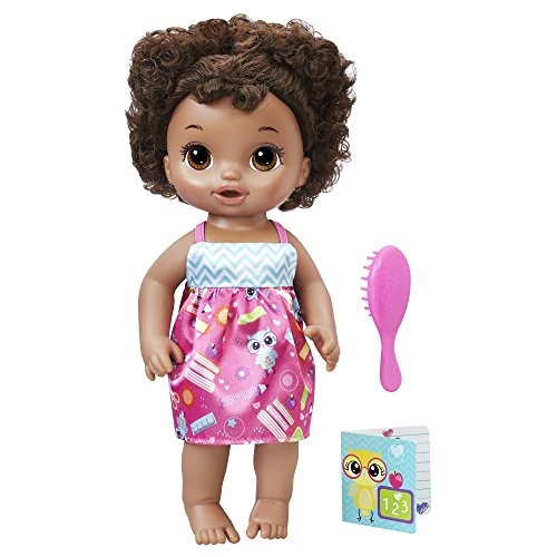BABY ALIVE READY FOR SCHOOL BABY: Baby Doll with Black Curly Hair, School-Themed Dress, Doll Accessories Include Notebook & Brush, Doll For 3-Year-Old Girls and Boys and Up