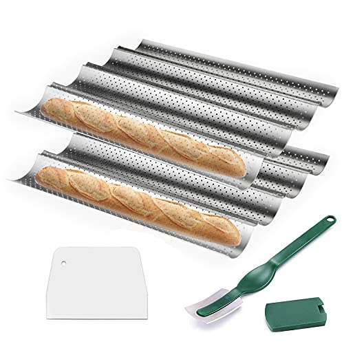 Baguette pans for baking 2 Pack, WERTIOO Nonstick French Bread Pan 15' x 13' for French Bread Baking, 4 Wave Loaves Loaf Bake Mold Oven Toaster Pan (Silver)