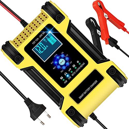 Chargeur de Batterie Voiture Moto 12A 12V/24V, Chargeur Batterie Intelligent Automatique avec Réparation Fonction et LCD Écran, Chargeur Rapide pour Auto Moto Camion AGM LiFePO4 (Jaune)