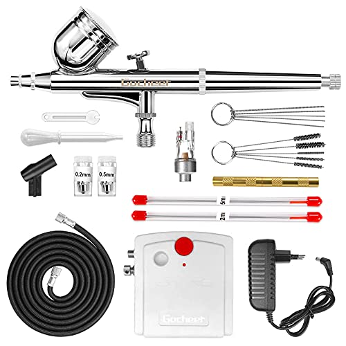 Gocheer Compresseur Aerographe Complet Kit Inclus Double Action Pistolet Aerographe,Mini Compresseur,Filtre,Porte,Tuyau,Mini Clé,Compte-gouttes,Kit Nettoyage Aerographe et 0,2 0,3 0,5 Buse et Aiguille