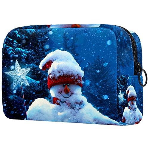 Bolsa de cosméticos para Mujeres Nieve del muñeco de Nieve de Navidad Bolsas de Maquillaje espaciosas Neceser de Viaje Organizador de Accesorios