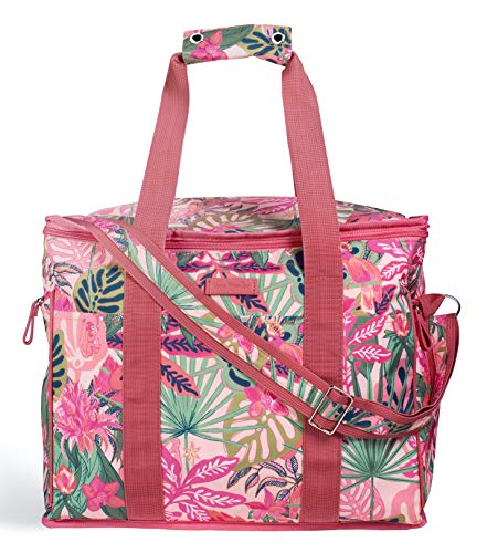 Vera Bradley Leak Resistant Insulated Cooler Bag Large Capacity, Soft Sided Collapsible Cooler, Portable Beach Tote Bag with Handles and Adjustable Shoulder Strap, Rain Forest Canopy Pink