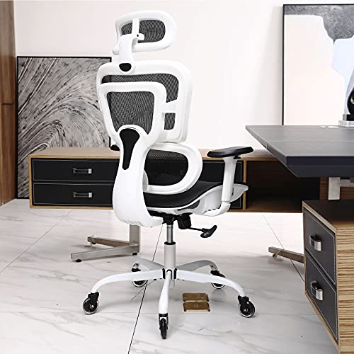 Office Chair, KERDOM Ergonomic Desk Chair, Comfy Breathable Mesh Task Chair with Headrest High Back, Home Computer Chair 3D Adjustable Armrests, Executive Swivel Chair with Roller Blade Wheels (White)