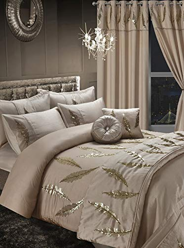 EGYPTO Embroiderey Design Printed Duvet Cover Set, Printed Curtains, Throws, Cushions and Quilt Covers Comforter (Gold, Double)