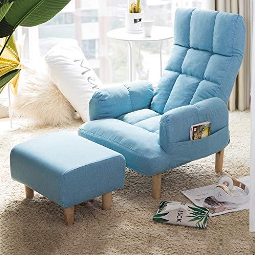 Liegestuhl Esszimmerstuhl Rückenlehne Sessel Schlafzimmer Wohnzimmer Balkon Freizeit Sofa Stuhl Terrasse Gartenstuhl Schwangere Frau Liegestühle (Color : Light Blue+Footstool)