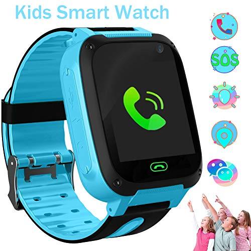 Smartwatch Kinder LBS Telefon Uhr für Kinder Tracker mit SOS Voice Chat Kinderuhr Junge Mädchen Blue