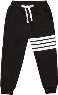 Carolilly Pantalón de niño unisex con estampado de rayas, pantalón de chándal para niña de cintura alta