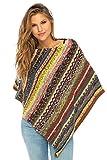 Back From Bali Womens Colorful Knit Poncho Sweater Cape Soft Striped Boho Tunic Shawl