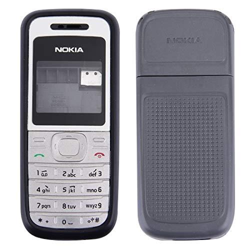 Liluyao Telefono Ricambi Cover for alloggiamento Completo (Coperchio Anteriore + Cornice Centrale for Telaio + Cover Posteriore for Batteria) for Nokia 1200/1208/1209 (Nero) (Colore : Black)
