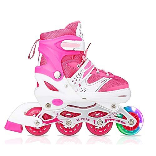 Inline Skates, Größe Verstellbar Inline Skates Mit Flash, ABEC 7 Carbon Kugellager, Inliner Für Kinder Und Jugendliche,M