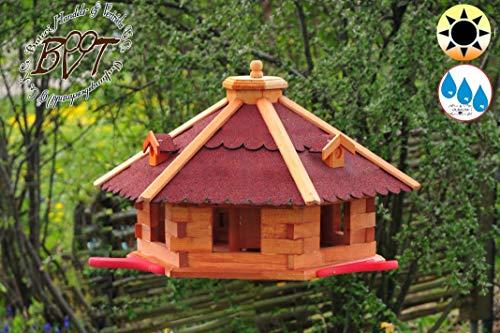 oelbaum Garten-Vogelhaus-Blockhaus Landebahn rot, Anflugbrettchen Bitumen