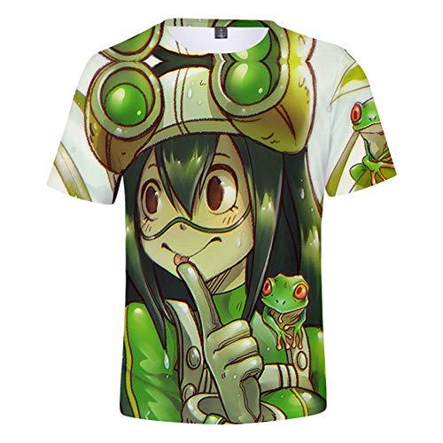 Sommer Lässige Kurzarm 3D Druck T-Shirts Rundhals Top My Hero Academia Asui Tsuyu Cross My Body Grafik Kleidung Sweatshirts,C,L