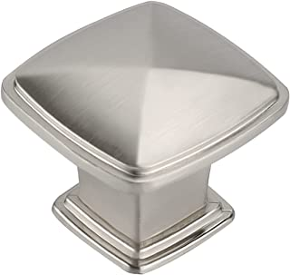 homdiy Brushed Nickel Cabinet Knobs - 8791SNB Drawer Knobs 30 Pack Solid Cabinet Door Knobs Square Knobs for Kitchen Cabinets