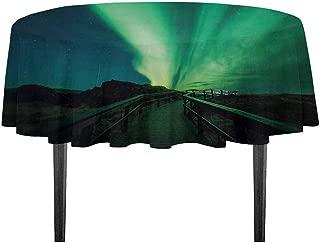 kangkaishi Aurora Borealis Printed Tablecloth Wooden Bridge Solar Sky Scenic Radiant Rays Arctic Magic Scenery Desktop Protection pad D59.05 Inch Fern Green Dark Blue
