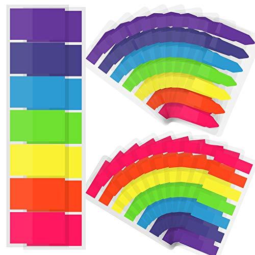SOSMAR 3080 Pcs Klebezettel bunt zum Markieren - 3 Größen Flaggen Index Tabs transparente & beschreibbare Haftnotizen Haftmarker für Seitenmarkierung, 7 Farben, 22er Set