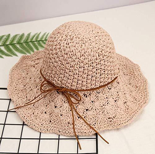 ITODA Strohhut Sonnenhut Strandhut Farbe Natur Faltbar Verstellbar Sonnenschutz Sommerhut für Damen Outdoor Schlapphut Freizeithut Visier Hut mit Schleife (Rosa)