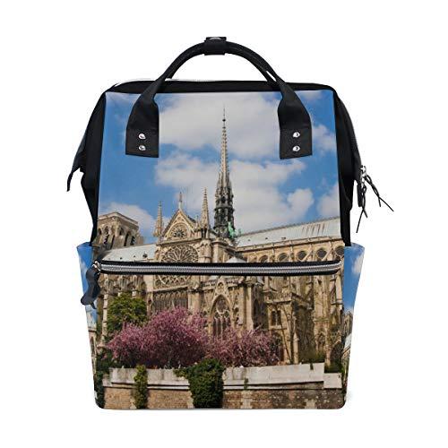 Notre Dame De Paris Spring View Bolsas de pañales de gran capacidad Mamá Mochila Múltiples funciones Bolso de lactancia Bolso de mano Bolso para niños Cuidado de bebés Viaje diario Mujeres