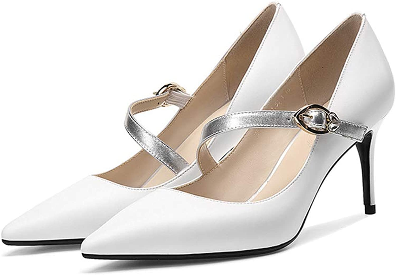 Phil Betty Women's Pumps,Mary Jane Thin Heel White Black Elegant Dress Wedding Party shoes