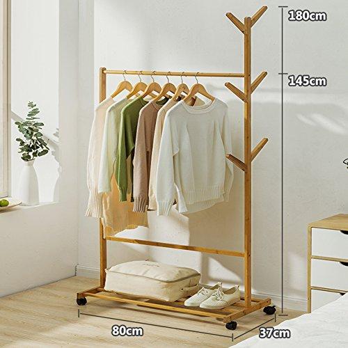 MQ&PQ Solid Wood Coat Rack,Floor Drying Rack Simple Clothes Pole Indoor Drying Rack Bedroom Hanger Clothes Rack-A