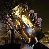 NMEGOU Naruto Sasuke Call Flash Luminescent Glass Anti-Fall Mobile Phone Shell Illuminated for Iphone11 pro max/XR X/XS Max 7/8plus (Naruto, iPhone 7/8)