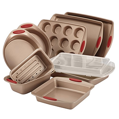Rachael Ray 52410 Cucina Nonstick Bakeware Set with Baking Pans, Baking Sheets, Cookie Sheets, Cake...