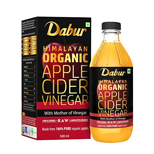 DABUR Himalayan Organic Apple Cider Vinegar with Mother of Vinegar |100% Pure| USDA Organic Certified |Raw, Unfiltered and Unpasteurized|Helps Boost Immunity - 500 ml