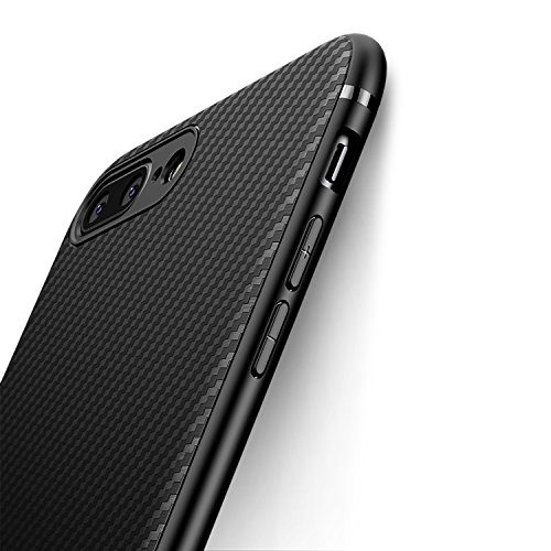 J Jecent Funda iPhone 8 Plus Funda iPhone 7 Plus [Textura Fibra de Carbono] Carcasa Ligera Silicona Suave TPU Gel Bumper Case Cover de Protección Antideslizante [Anti-Rasguño] [ Anti-Golpes] - Negro