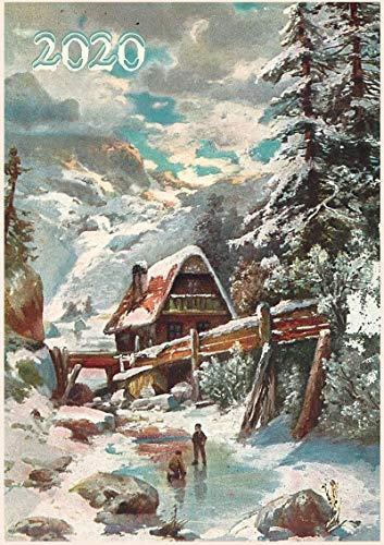 Calendario de pared 2020 [12 páginas 8 x 11 pulgadas] Navidad Invierno País pueblo Lanscapes Vintage Póster