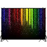 Funnytree 7x5FT Let's Glow Party Photography Backdrop for Music Dance Disco Decor Rainbow Neon Splatter Background Photo Booth