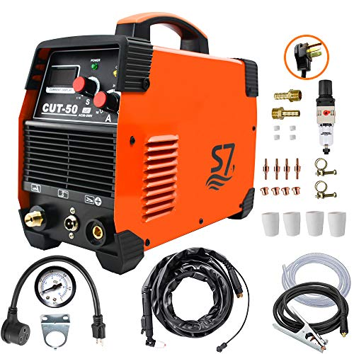 Plasma Cutter, 50A Inverter  DC Inverter 110/230V Dual Voltage Cutting Machine With Intelligent Digital Display With Free Accessories Easy Cutter Welder