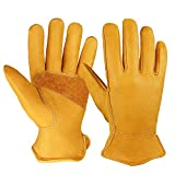 OZERO Flex Grip Leather Work Gloves Stretchable Wrist Tough Cowhide Working Glove 1 Pair (Gold, X-Large)